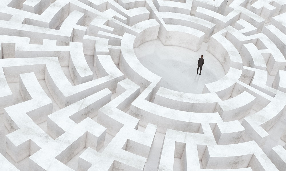 businessman in the middle of a maze