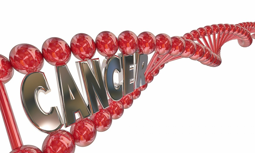 Cancer DNA Word Letters Genes Hereditary Disease 3d